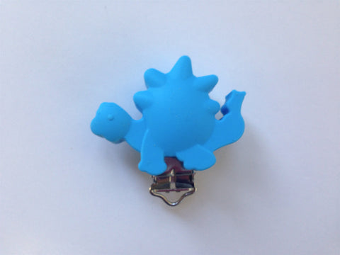 Sky Blue Dinosaur Silicone Pacifier Clip