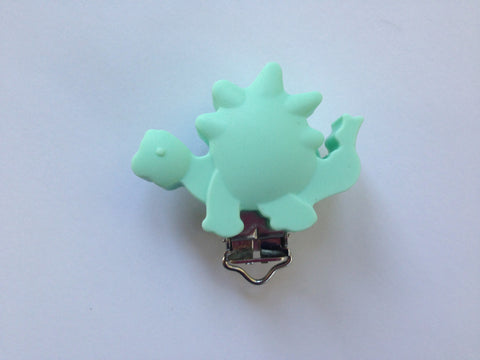 Mint Dinosaur Silicone Pacifier Clip