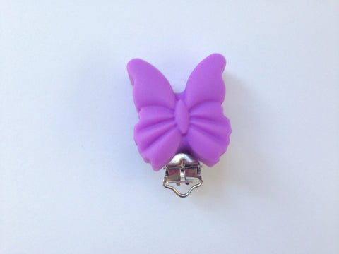 Lavender Purple Butterfly Silicone Pacifier Clip