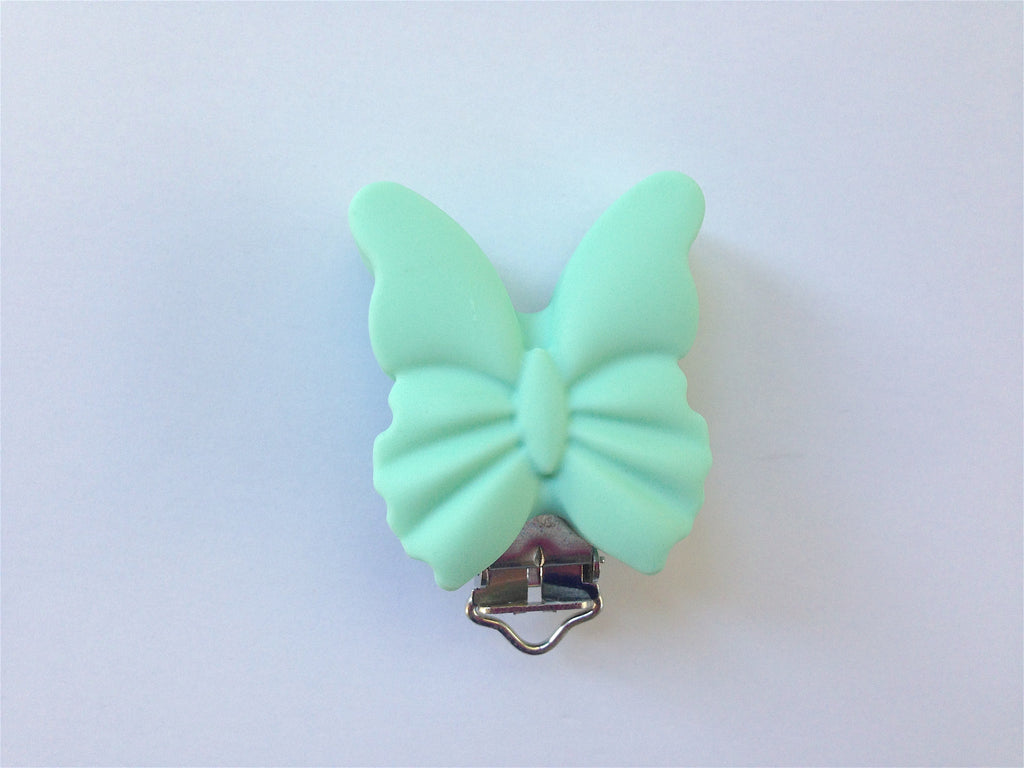 Mint Butterfly Silicone Pacifier Clip