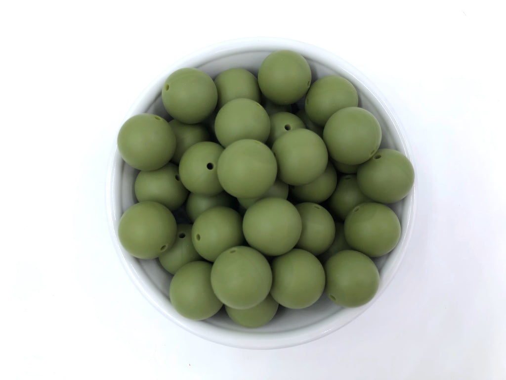 19mm Army Green Silicone Beads