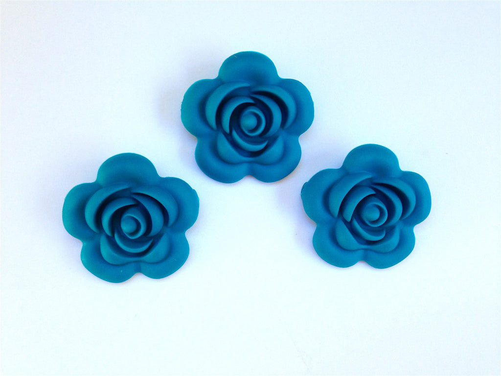 40mm Teal Blue Silicone Flower Bead