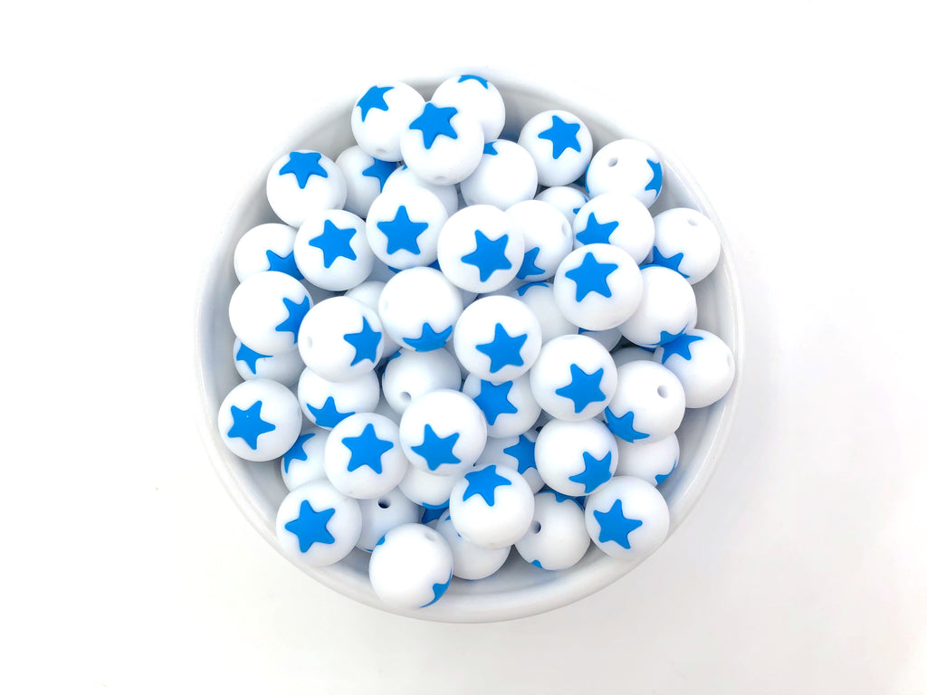 Limited Edition!   15mm White and Sky Blue Star Silicone Beads