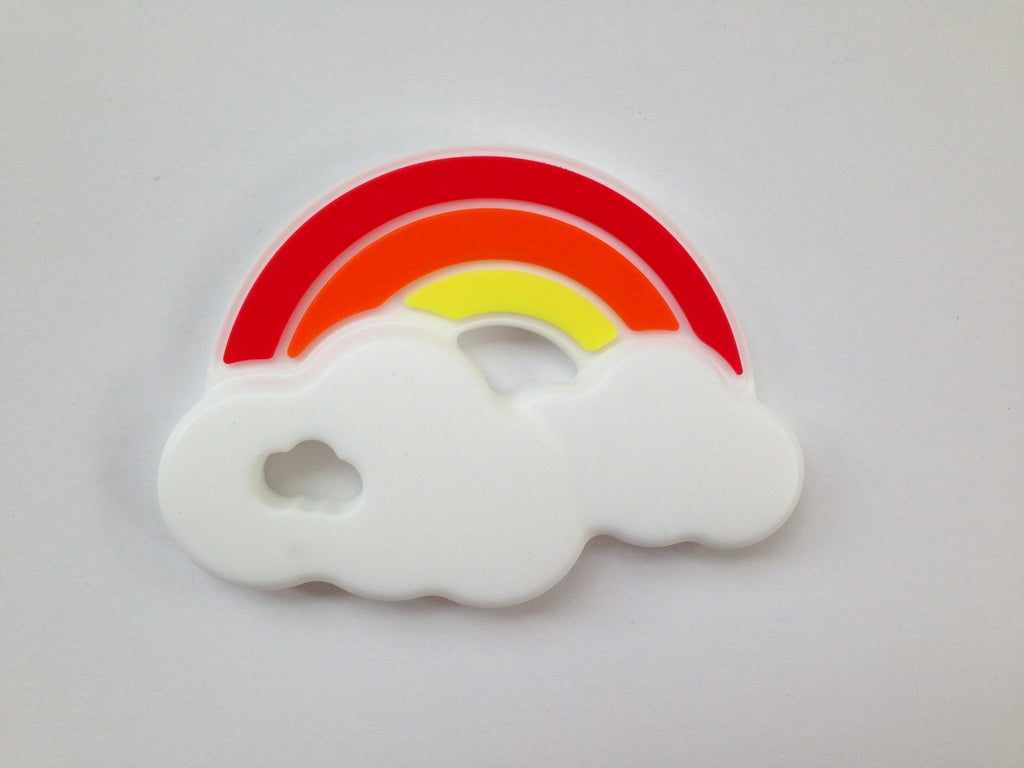 Rainbow Silicone Teether--Red, Orange & Yellow
