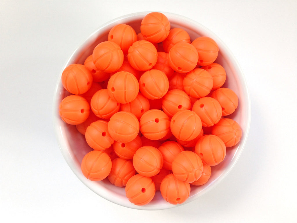 Orange Basketball Silicone Beads
