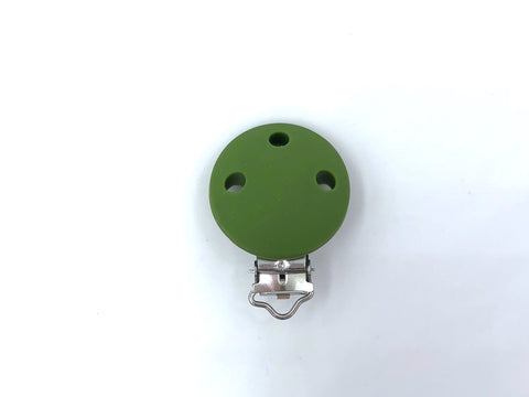 Army Green Round Silicone Pacifier Clip--Metal Clip