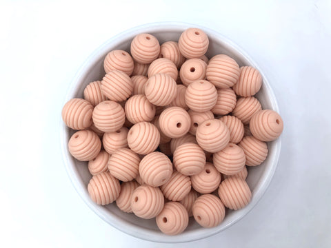 15mm Peach Silicone Beehive Beads