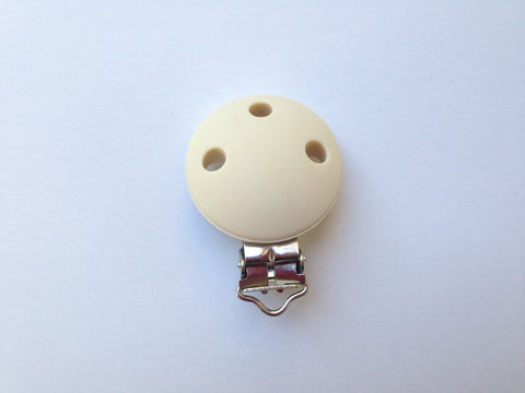 Beige Round Silicone Pacifier Clip--Metal Clip