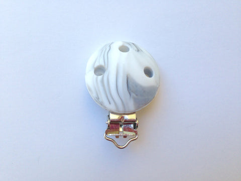 Marble Round Silicone Pacifier Clip--Metal Clip