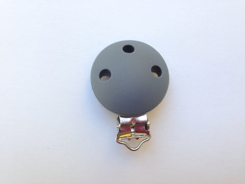 Gray Round Silicone Pacifier Clip--Metal Clip
