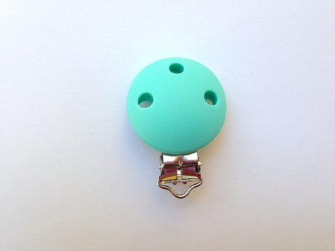Light Turquoise Round Silicone Pacifier Clip--Metal Clip