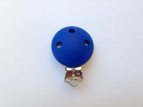 Royal Blue Round Silicone Pacifier Clip--Metal Clip