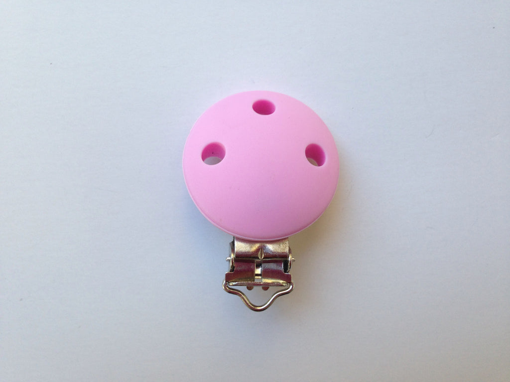 Light Pink Round Silicone Pacifier Clip--Metal Clip