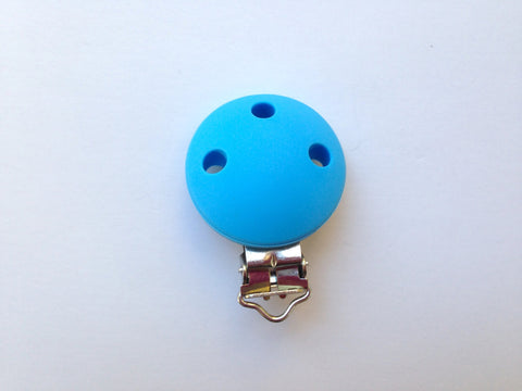 Sky Blue Round Silicone Pacifier Clip--Metal Clip