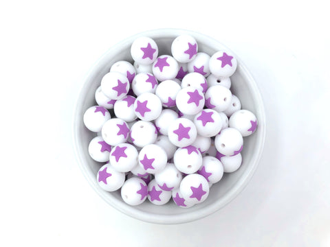 Limited Edition!   15mm White and Purple Star Silicone Beads