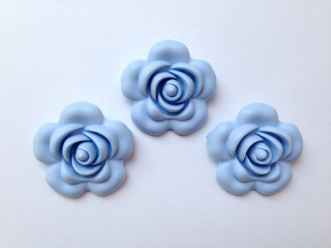 40mm Baby Blue Silicone Flower Bead