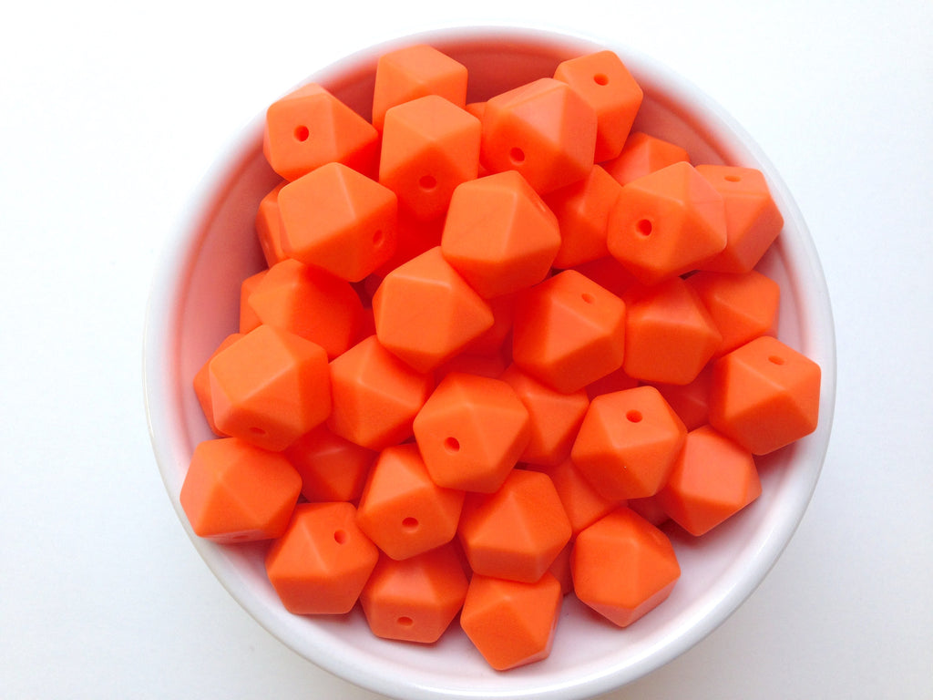 14mm Orange Mini Hexagon Silicone Beads