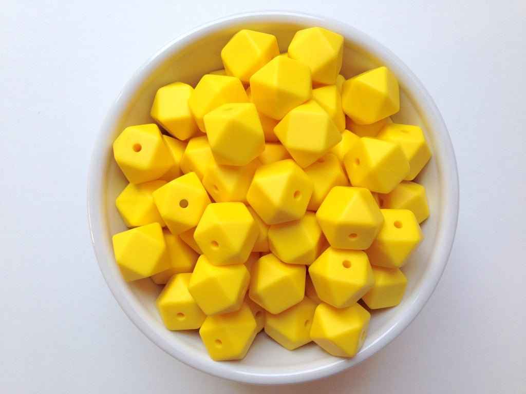 14mm Yellow Mini Hexagon Silicone Beads