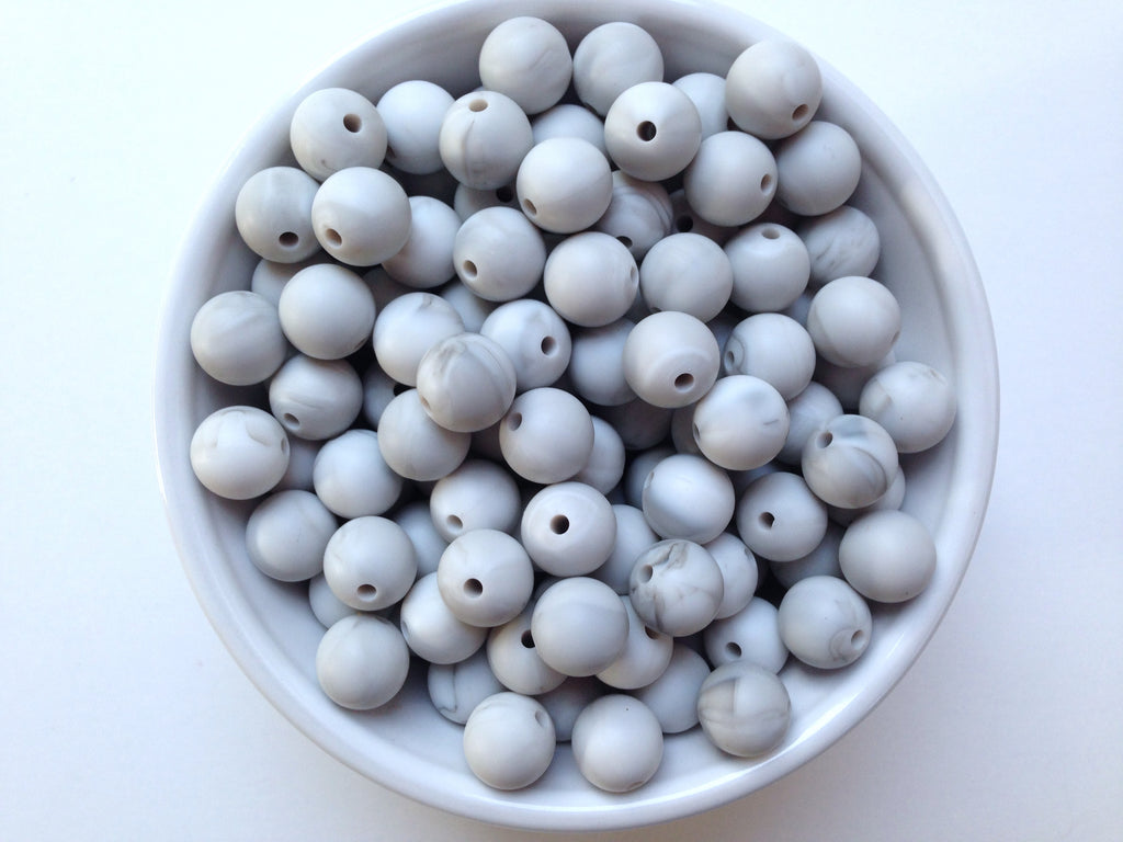 12mm Marble Gray Silicone Beads