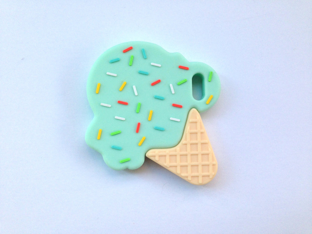 Mint Ice Cream Cone Silicone Teether