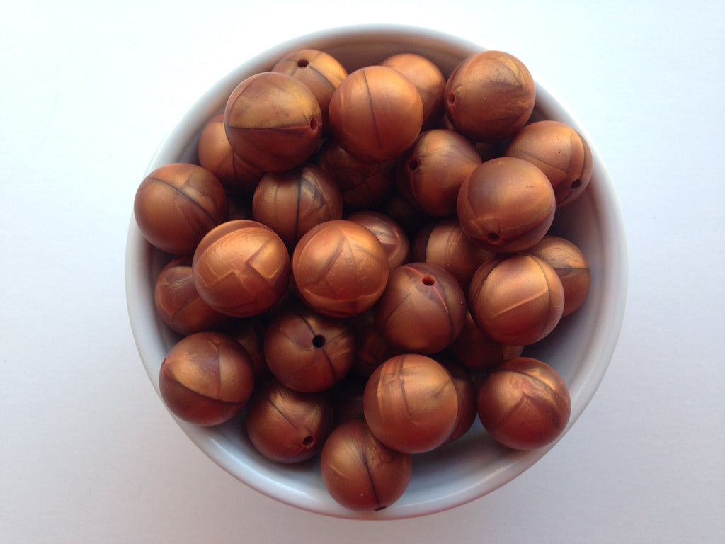 19mm Metallic Copper Silicone Beads