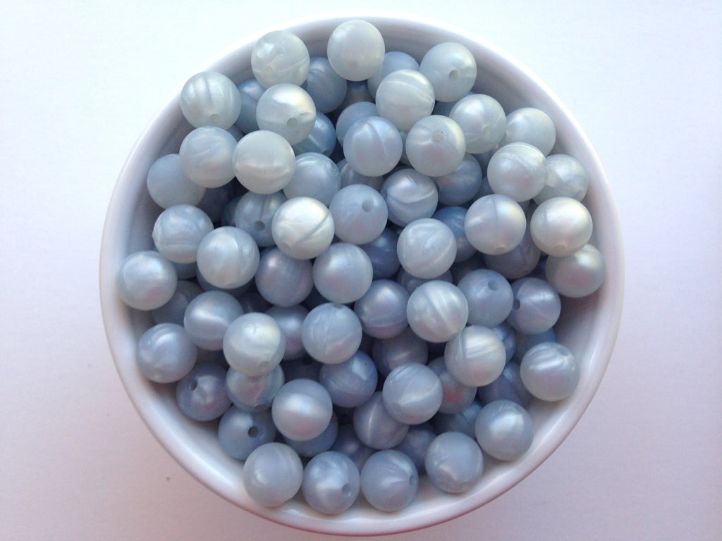 12mm Metallic Light Gray Silicone Beads