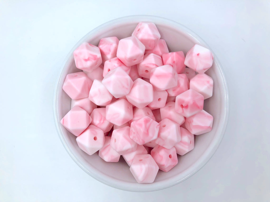 14mm Pink Marble Hexagon Silicone Beads