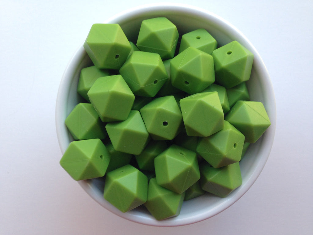 Olive Green Hexagon Silicone Beads