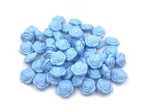 Baby Blue Mini Silicone Rose Flower Beads
