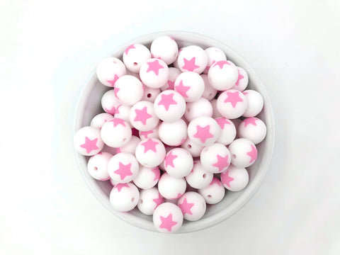 Limited Edition!   15mm White and Pink Star Silicone Beads