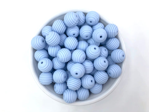 15mm Baby Blue Silicone Beehive Beads