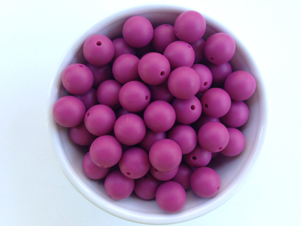 15mm French Plum Silicone Beads