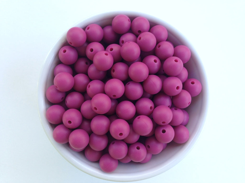 12mm French Plum Silicone Beads
