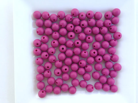 9mm French Plum Silicone Beads