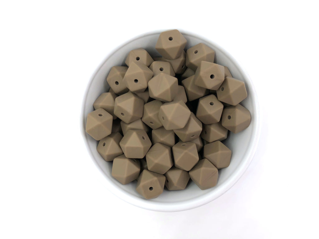 14mm Cappuccino Hexagon Silicone Teething Beads