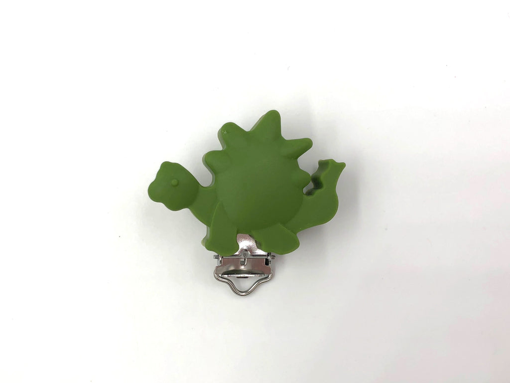 Army Green Dinosaur Silicone Pacifier Clip