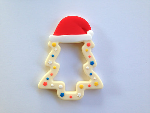 Cream Christmas Tree Silicone Teether