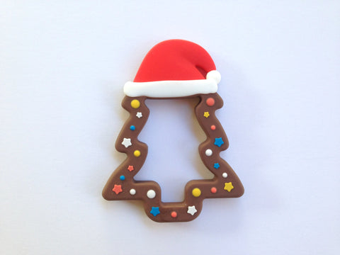 Brown Christmas Tree Silicone Teether
