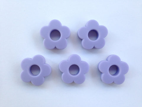 Periwinkle Mini Silicone Flower Beads