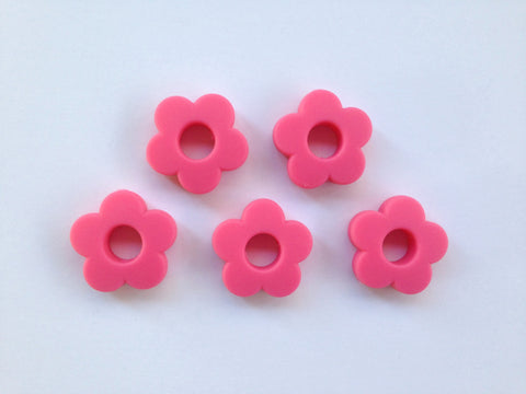 Light Hot Pink Mini Silicone Flower Beads