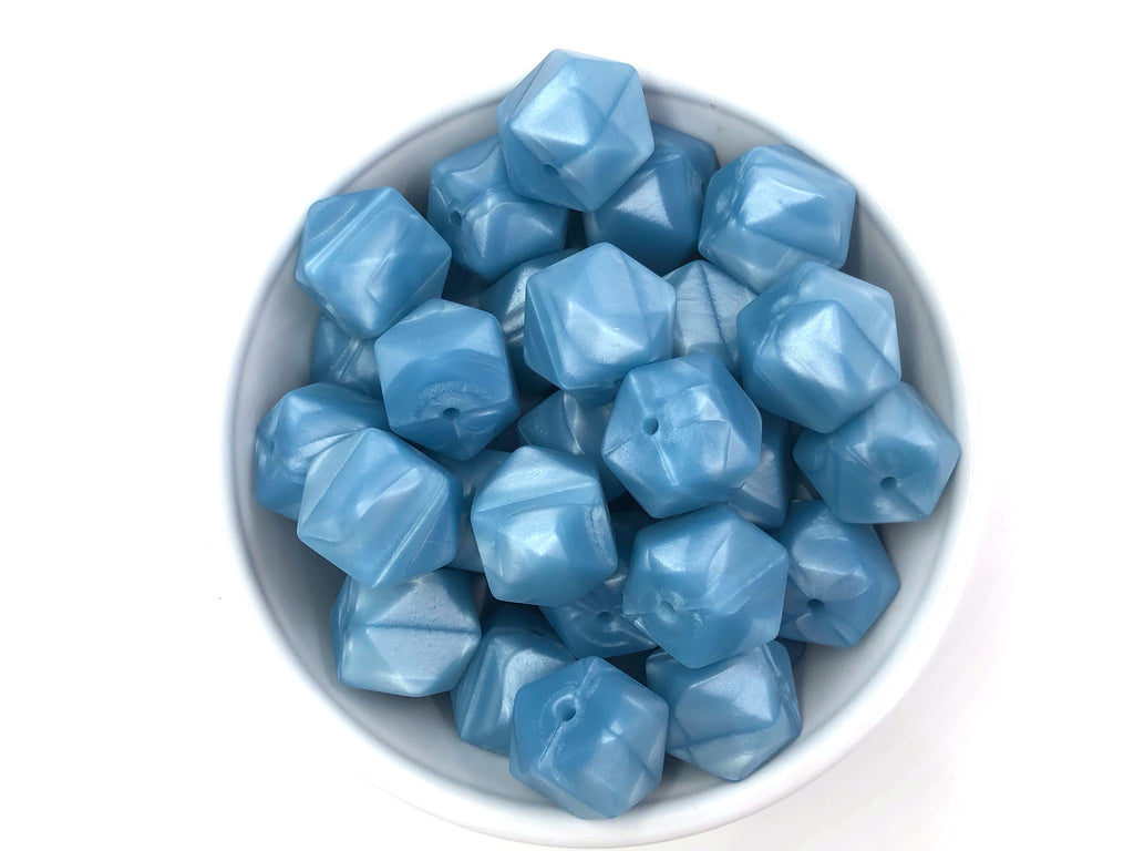 Metallic Powder Blue Hexagon Silicone Teething Beads
