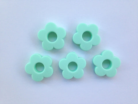 Mint Mini Silicone Flower Beads