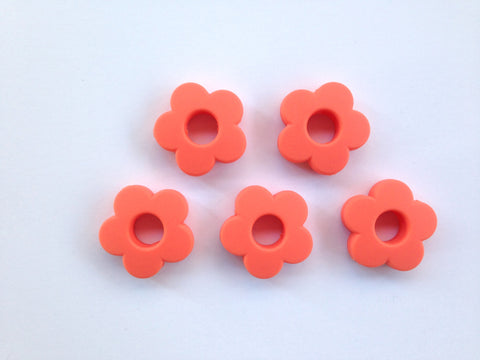 Salmon Mini Silicone Flower Beads
