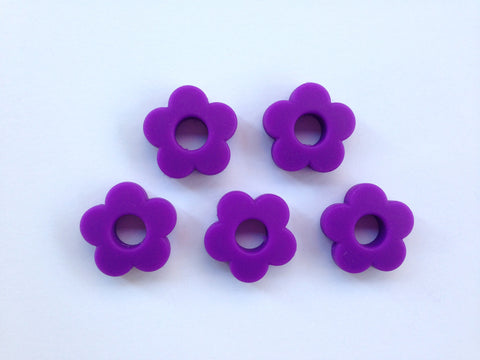 Royal Purple Mini Silicone Flower Beads