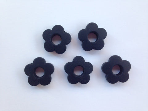 Black Mini Silicone Flower Beads