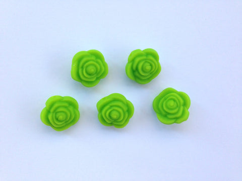 Green Mini Silicone Rose Flower Beads