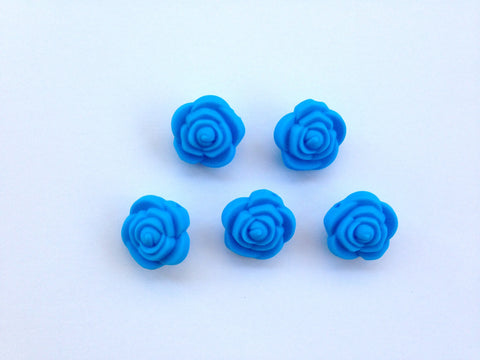 Sky Blue Mini Silicone Rose Flower Beads