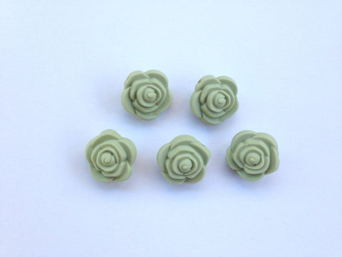 Sage Mini Silicone Rose Flower Beads