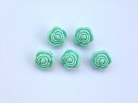 Mint Mini Silicone Rose Flower Beads