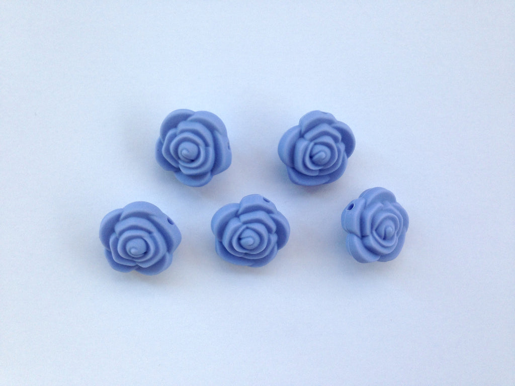 Tranquility Blue Mini Silicone Rose Flower Beads